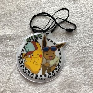 Pikachu and Evee Pokémon Card Lanyard LE